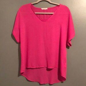 LUSH Hi-Low Pink Blouse Small